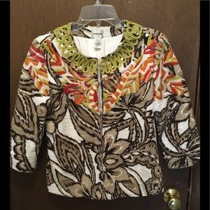 Chicos Embroidered  3/4 Sleeve Jacket Size 0 (S)